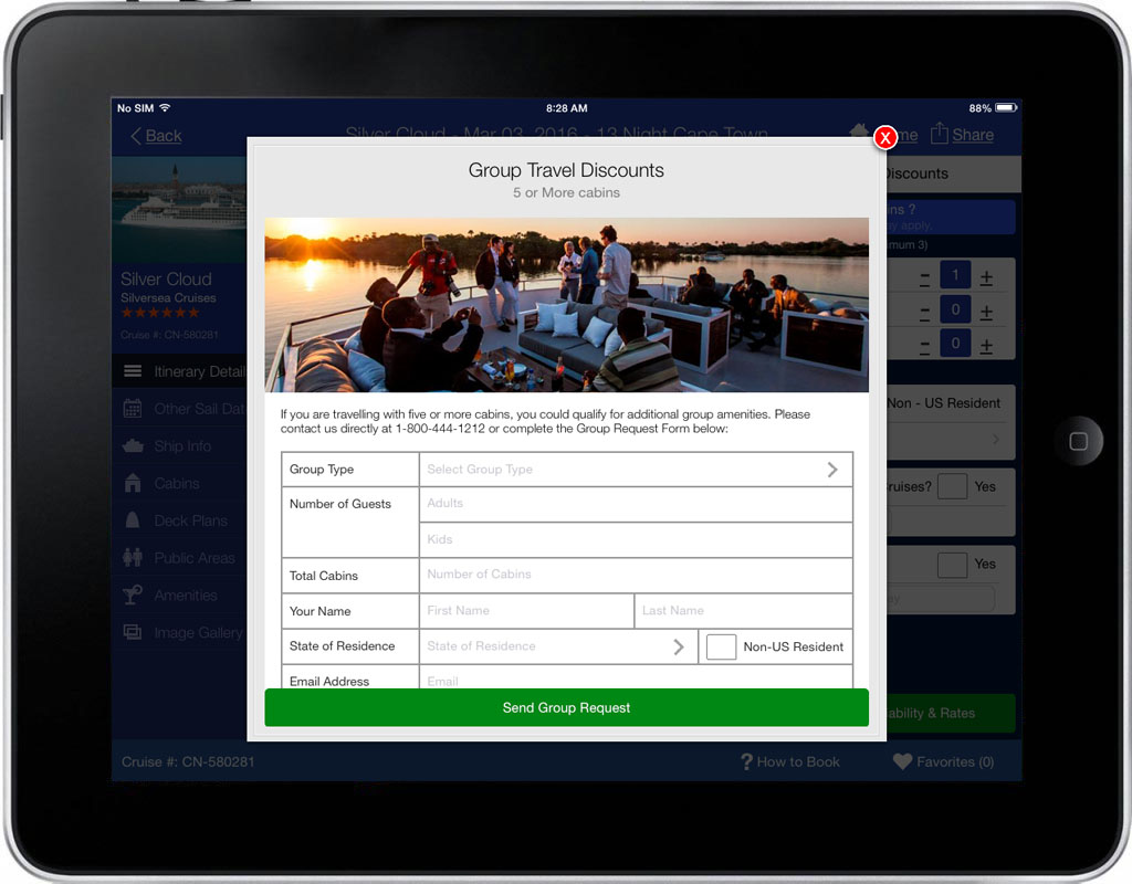 iCruise App Screen - 2 | Cruise Searching, Planning & Booking Mobile App