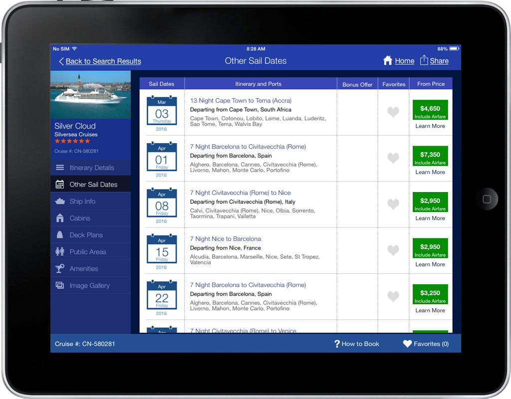 iCruise App Screen - 3 | Cruise Searching, Planning & Booking Mobile App