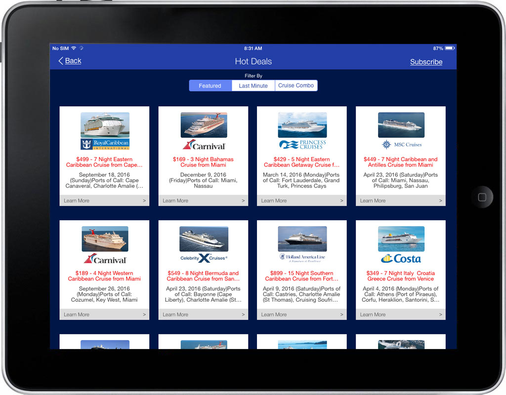 iCruise App Screen - 4 | Cruise Searching, Planning & Booking Mobile App